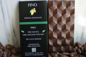 SINGLE ORIGIN DARK CHOCOLATE BAR WITH ORGANIC MINT