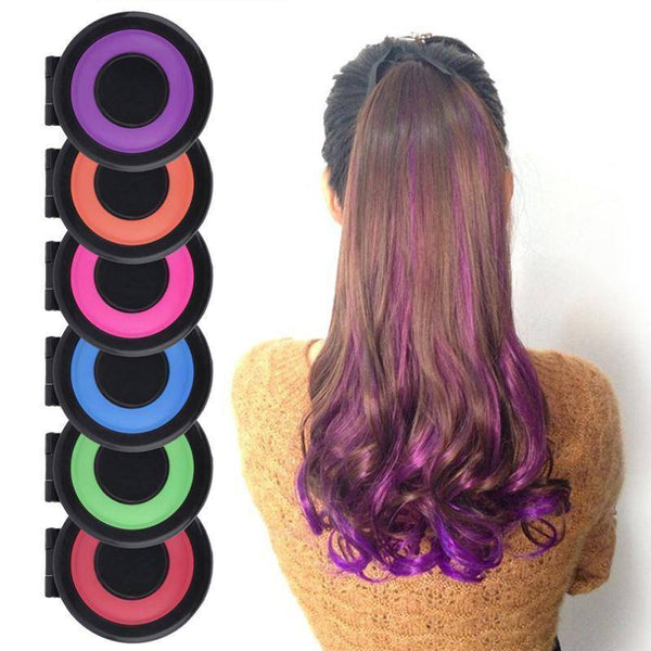 hair chalk maquillage cheveux coloration temporaire craie set 6 coloris vert rose bleu rouge orange rose