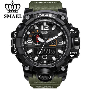 SMAEL Brand Men Sports Watches Dual Display Analog Digital LED Electronic Quartz Wristwatches Waterproof Swimming Military Watch