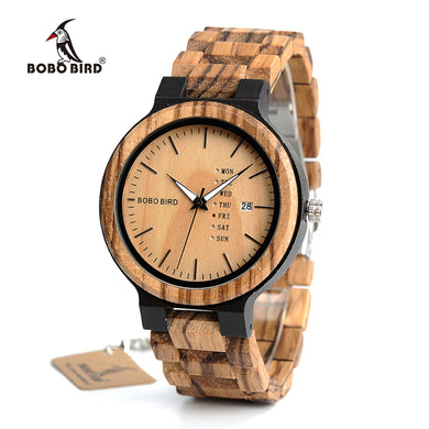 BOBO BIRD Antique Mens Zebra and Ebony Wood Watches with Date and Week Display Business Watch in Wooden Gift Box