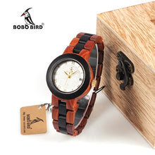 Load image into Gallery viewer, BOBO BIRD Two-tone Timepieces Wooden Watch for Women Brand Design Quartz Lady Watches in Wood Box Accept Customize