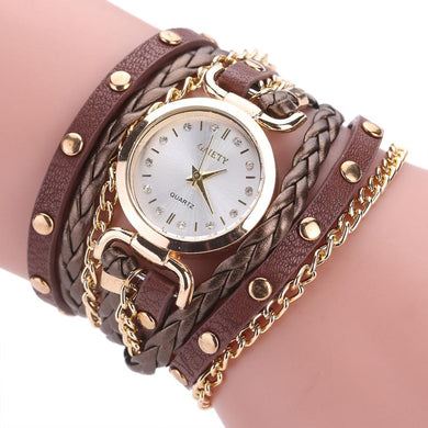 Quartz Wristwatches  Relogio Feminino   Fashion Luxury  Alloy Watch  High Quality Leather Bracelet   Watches Women 17DEC26