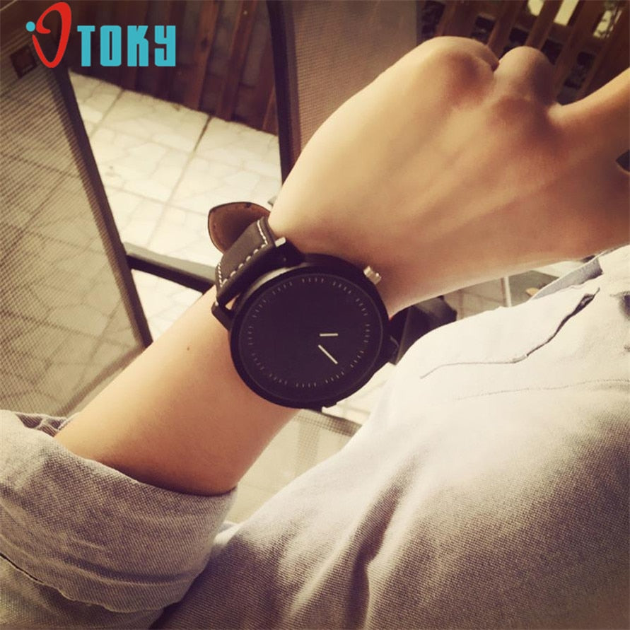 OTOKY Unisex Men Women Leather Band Big Dial Quartz Analog Wrist Watch Watches 161222 Drop Shipping