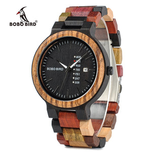 BOBO BIRD Watches Men New Arrivals Bamboo Wooden Show date Wrist Watch Quartz Male Gift in Wood Box erkek kol saati