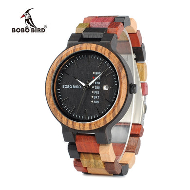 BOBO BIRD Men Watch Luxury Brand Wood Timepieces Week Date Display Quartz Watches Great Gifts relogio masculino Drop Shipping