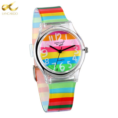 LANCARDO Rainbow Quartz Watch Women Ladies Christmas Brand Luxury Girl Silicone Wrist Watch Clock Montre Femme Relogio Feminino