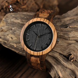 relogio masculino BOBO BIRD Wood Men Watch Zabra Wooden Timepieces Quartz Watches for Men Watch in Gift Box Accept Drop Shipping