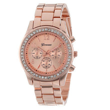Load image into Gallery viewer, Watch Digital Alarm Faux Chronograph Plated Classic Faux Chronograph Quartz Classic Round Ladies Women Crystals Watch