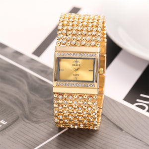 2019  Watches  Brand Luxury Casual Luxury Ladies Metal Quartz Mesh Belt Rectangle Dial With Diamond Women Watche dropshipping