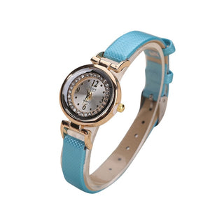 Ladies quartz wristwatch reloj mujer Women Fine Leather Band Diamond Analog Quartz Movement Wrist Watch Ladies Wristwatch Clock