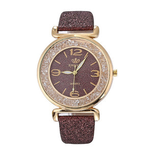 Luxury women watches leather watchband Fashion Crystal Rhinestone stainless steel quartz wristwatches ladies dress clock relogio
