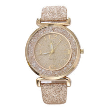 Load image into Gallery viewer, Luxury women watches leather watchband Fashion Crystal Rhinestone stainless steel quartz wristwatches ladies dress clock relogio