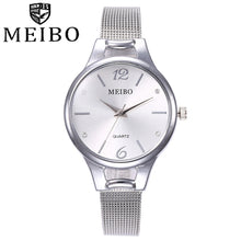 Load image into Gallery viewer, MEIBO  Women Watches  reloj mujer Fashion Silver Ladies  Watch  Woman Stainless Steel 2018 Casual  Wristwatch  18SEP26