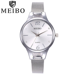 MEIBO  Women Watches  reloj mujer Fashion Silver Ladies  Watch  Woman Stainless Steel 2018 Casual  Wristwatch  18SEP26
