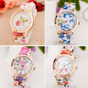 2019 Causal Best-Selling Women Girl Watches The Latest Fashion Korea Style Printed Flower Quartz Wrist Watches Relogio Feminino