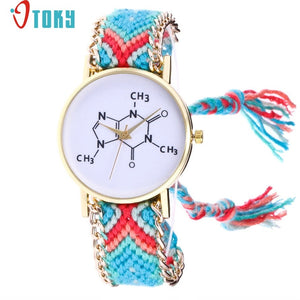 Free Shipping Chemical Formula Weaved Rope Bracelet Watch 170630