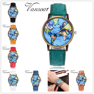 2019 Fashion Brand Watches ladies New Global Travel By Plane Map Women Dress Watch Denim Fabric led Flash Luminous Watch Person
