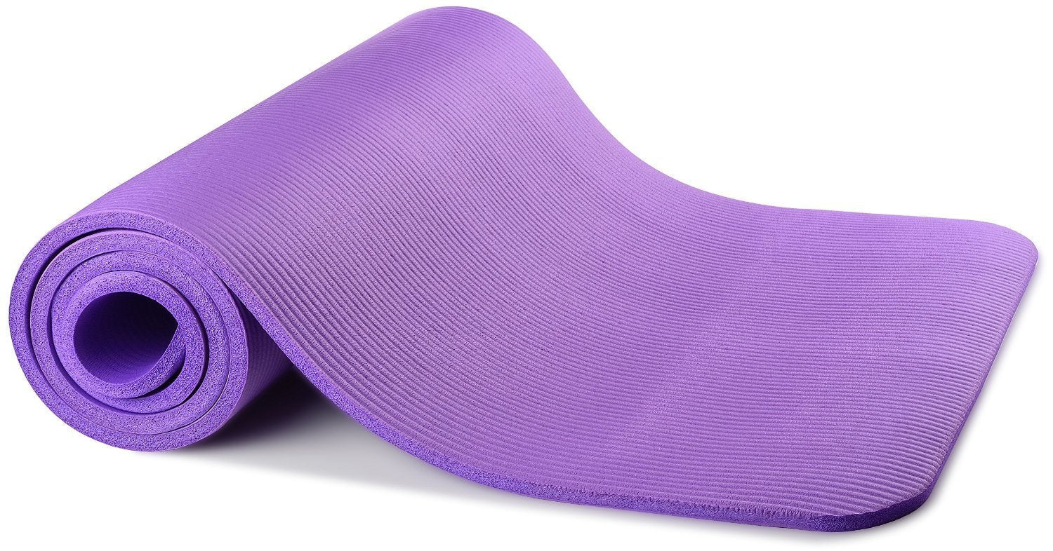 All-Purpose 1//2-Inch Extra Thick High Density Anti-Tear Exercise Yoga Mat and Knee Pad with Carrying Strap Purple BalanceFrom GoYoga