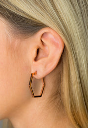Simplicity Hexagon Earrings Rose Gold