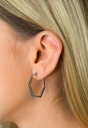 Simplicity Hexagon Earrings Silver