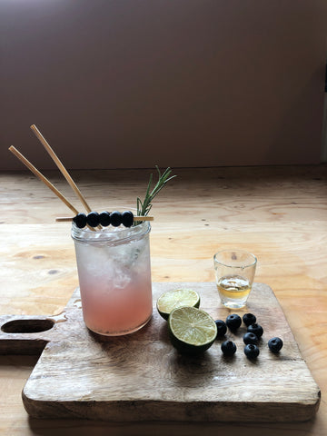 Straw by Straw Non-Alcoholic Cocktail Rosemary Blueberry