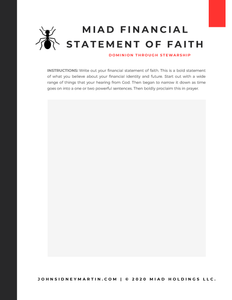 MIAD Financial Statement of Faith Worksheet