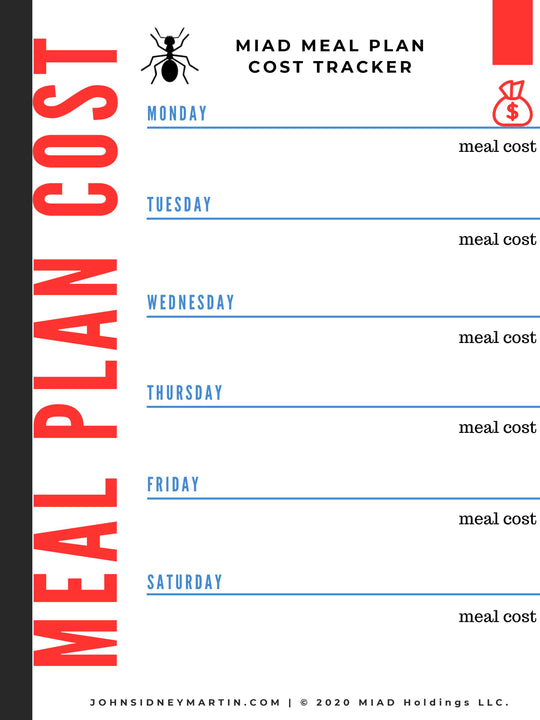 MIAD Meal Plan Cost Tracker Worksheet