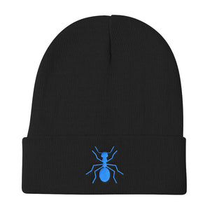 "Knit Blue ""ANT"" Beanie - Money Is A Defense"