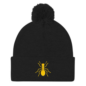 "Pom Yellow ""ANT"" Knit Cap - Money Is A Defense"