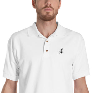 "Embroidered Black ""ANT"" Polo Shirt - Money Is A Defense"