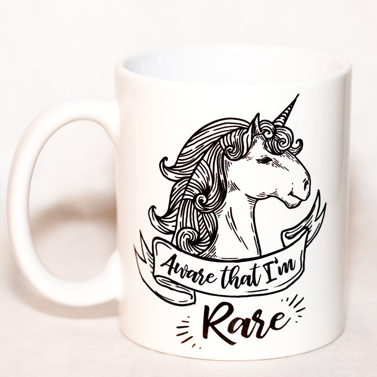 Aware that I'm Rare Black Unicorn Mug - Ever Grey Designs