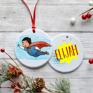 Superhero Status Customizable Holiday Ornament