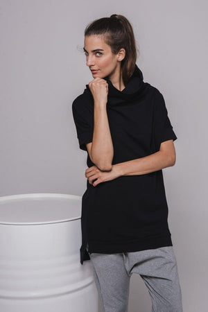 NON206 Short sleeve sweater/dress with cowl-neck