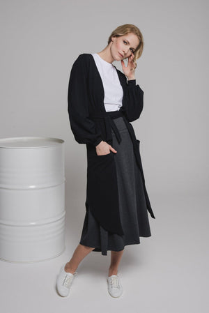 NON359 Long sleeve loose cardigan with tie belt