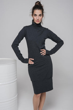 NON377 Turtle neck sweater dress