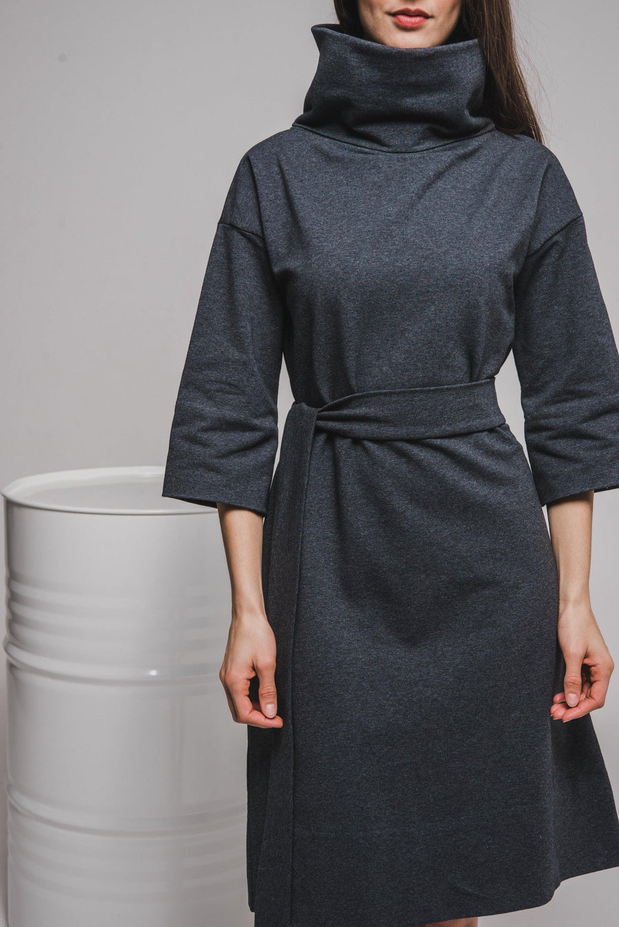 NON460 Cowl neck dress with 3/4 sleeves