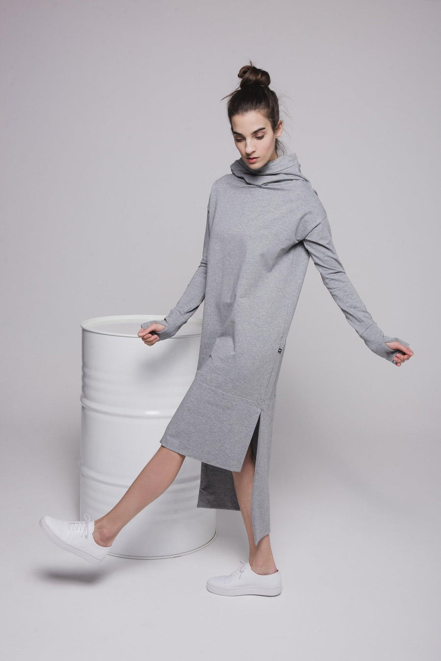 NON553 Long hoodie sweater dress