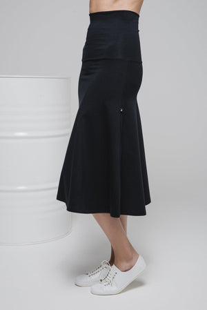 NON577 Knee length skirt with turn-down waist