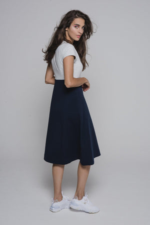 NON595 A line dress with short sleeves