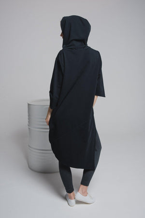 NON596 Hooded asymmetrical sweater jacket