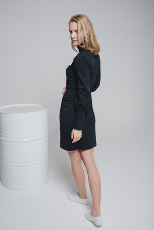 NON625 Slim Fit Dress With Puff Sleeves