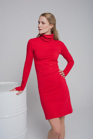NON482 Turtle neck dress with thumb hole