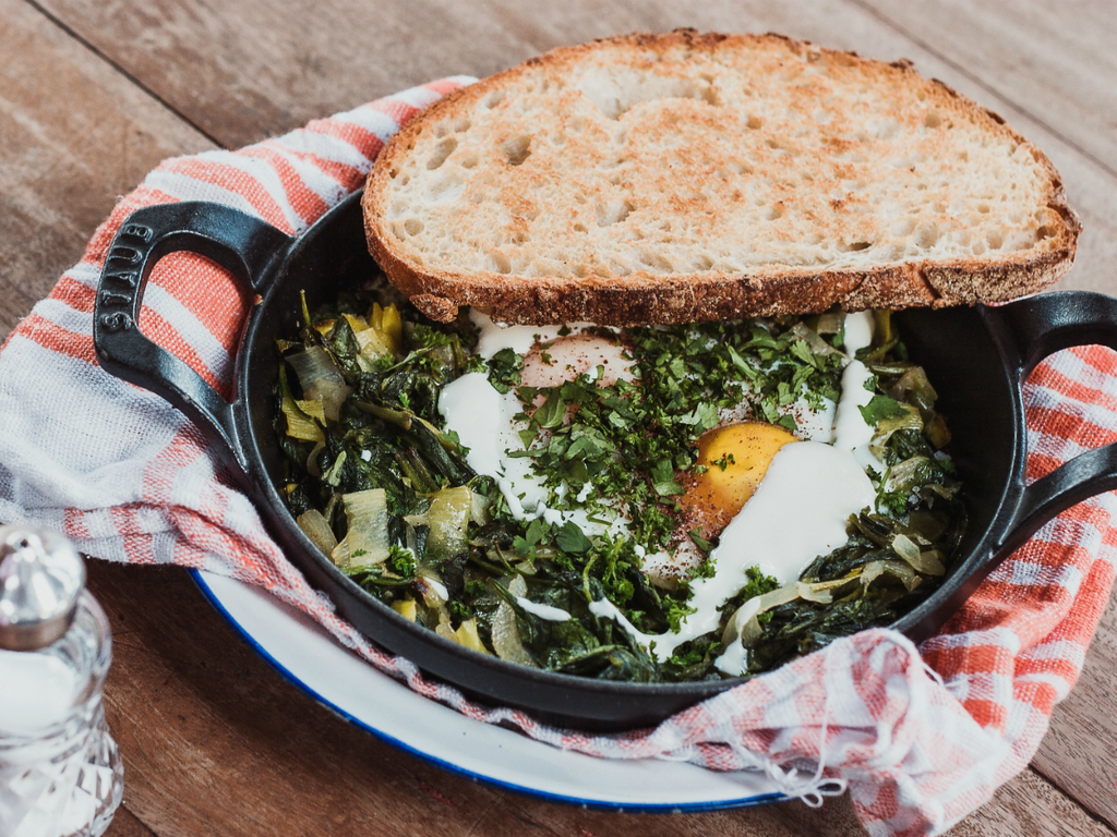 Spinach and Leek Spring Skillet Egg Breakfast