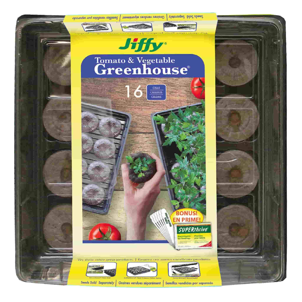 Jiffy 16 Pellet Tomato & Vegetable Greenhouse with SUPERthrive