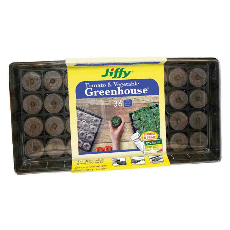 Jiffy 36 Peat Pellet Tomato & Vegetable Greenhouse, 50mm Pellets