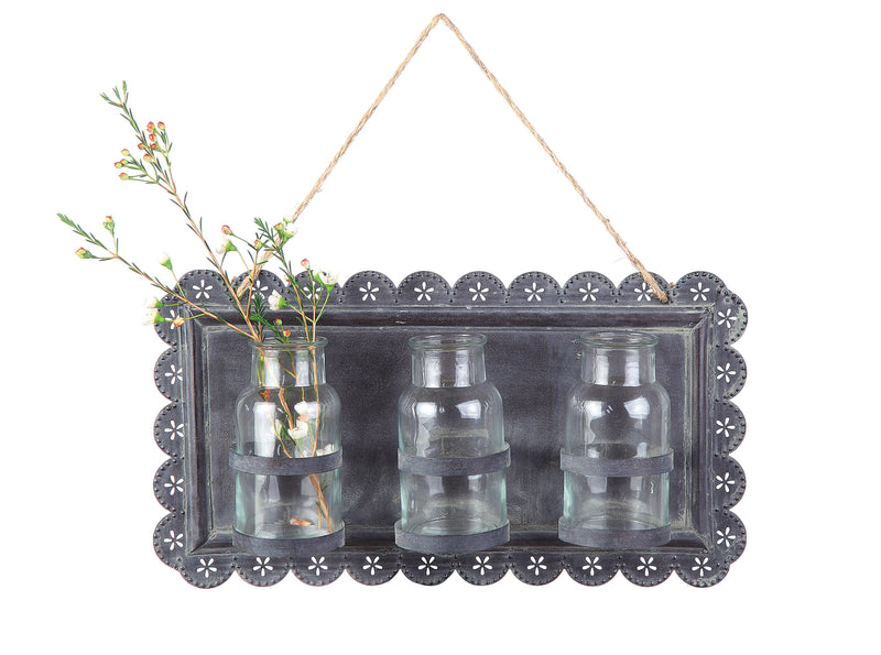 Tin Wall Decor with Three Glass Vases