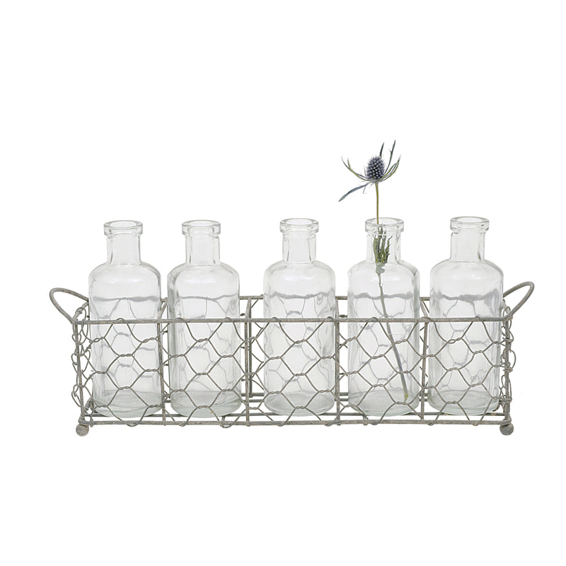 Wire Holder with 5 Glass Vase Bottles