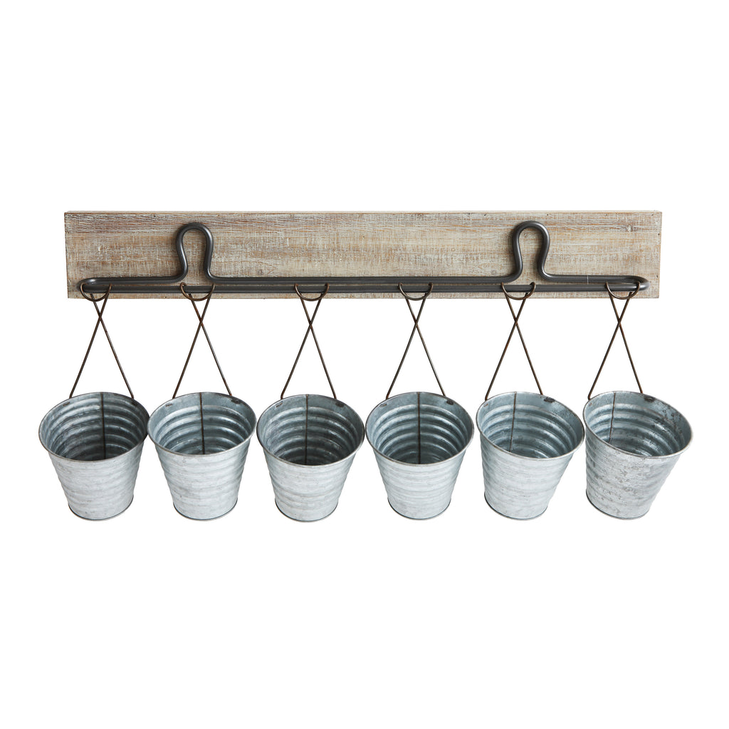 Wood Wall Décor with 6 Buckets