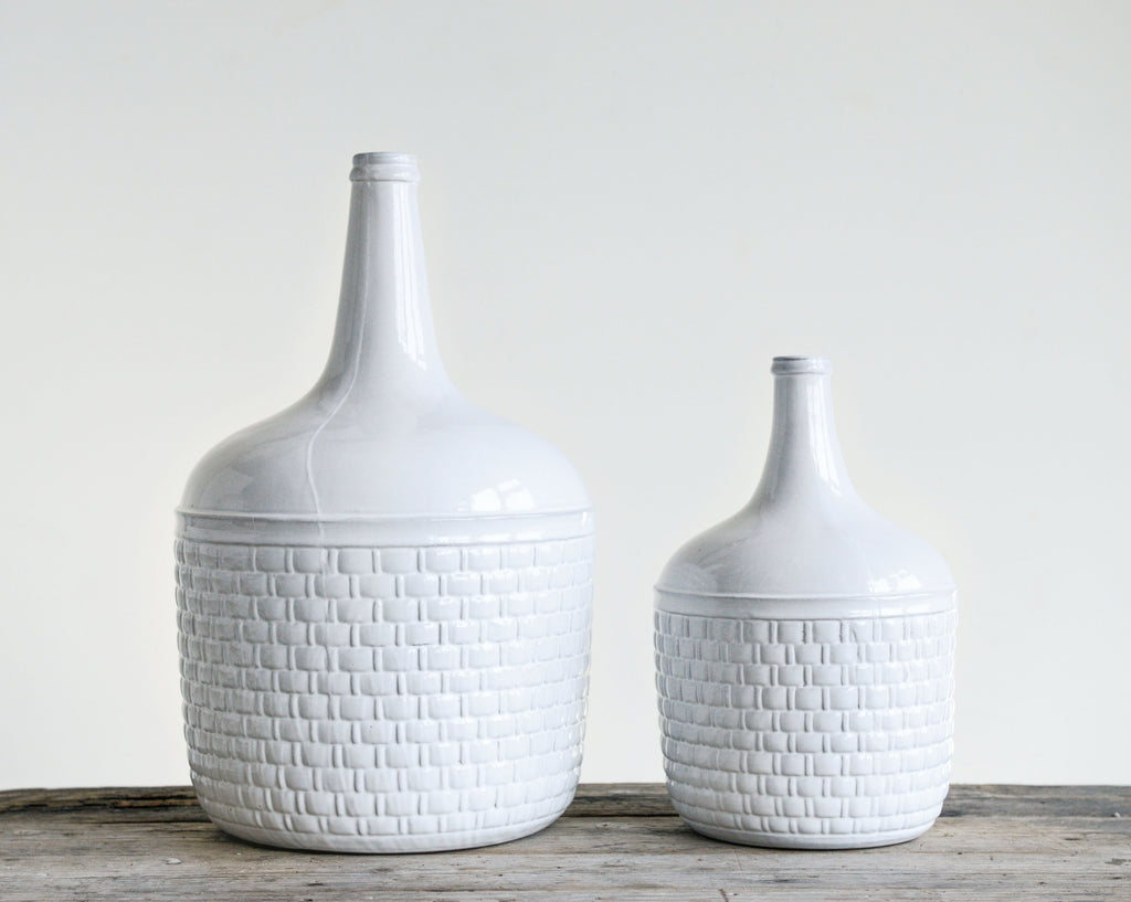 Small White Basketweave Ceramic Vase with Narrow Top
