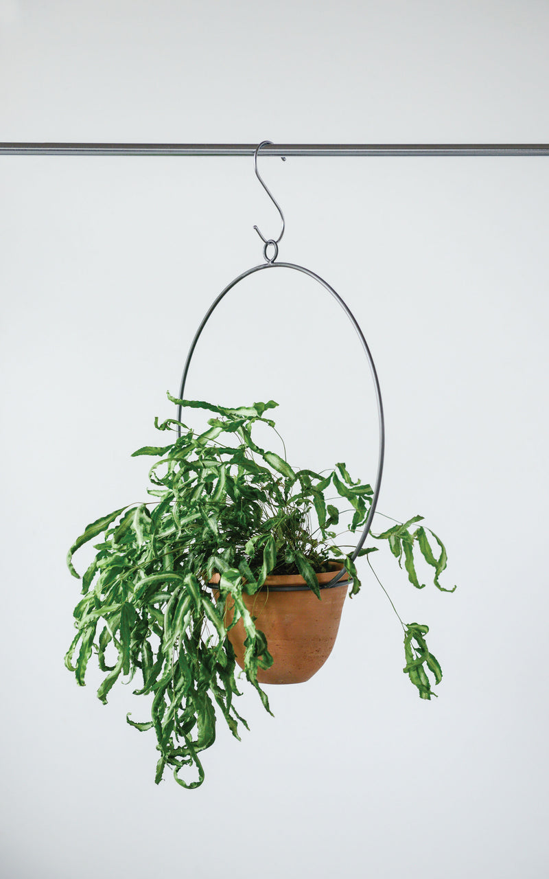 Hanging Terracotta Planter with Metal Hanger